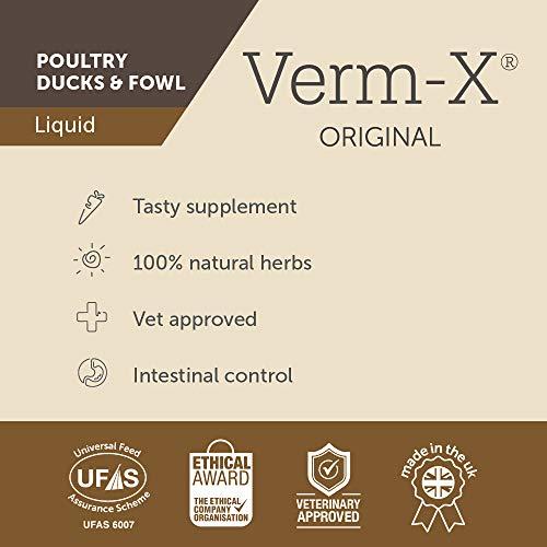 Verm-X Flüssig für Geflügel, 250 ml. Statt chemischer Wurmkur für Hühner, Gänse, Enten, usw. eine natürliche Kontrolle innerer Parasiten mit der bewährten Verm-X Kräuter-Rezeptur. - 4