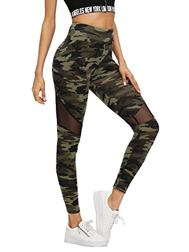 SweatyRocks Women's Stretchy Skinny Sheer Mesh Insert Workout Leggings Yoga Tights Camouflage L