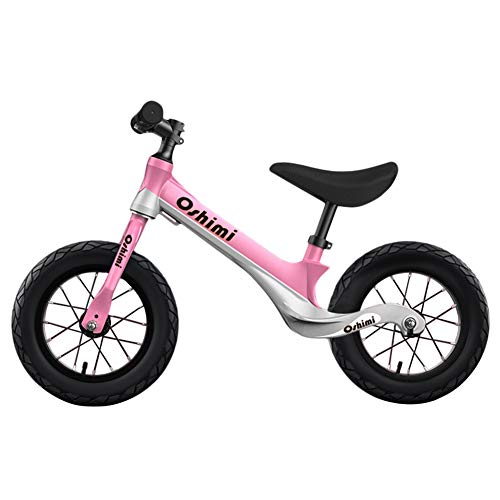 LXLA Lightweight Kids Balance Bike for Boys and Girls, Safety Learning Training Bicycle with Adjustable Seat and Inflatable Rubber Tire, Best Birthday Gift (Color : Pink)