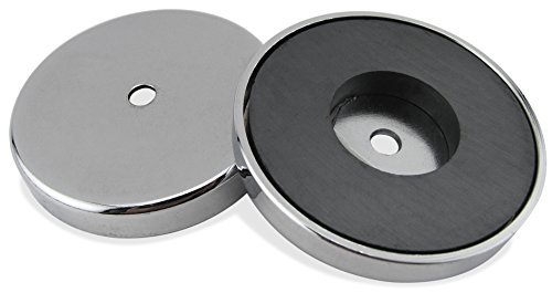 Master Magnetics RB100CX2 Round Base Magnet Fastener with 0.50' Center Hole Chrome Plate, 4.90' Diameter, 0.50' Thick, 200 Pounds Pull, Silver (Pack of 2)