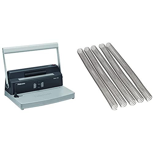 Fellowes Metal 50R Encuadernadora manual de espiral metálico, uso frecuente, con rodillo insertador eléctrico + 6004301-25 espirales metálicas para encuadernar, paso 5:1, 59 agujeros
