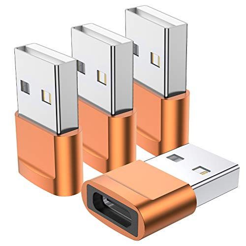 USB C Female to USB Male Adapter (4-Pack),Type C to USB A Charger Cable Adapter,Compatible with iPhone 11 12 Pro Max,iPad 2020,Samsung Galaxy Note 10 S20 Plus S20+ Ultra,Google Pixel 4 3 2 XL(Orange)