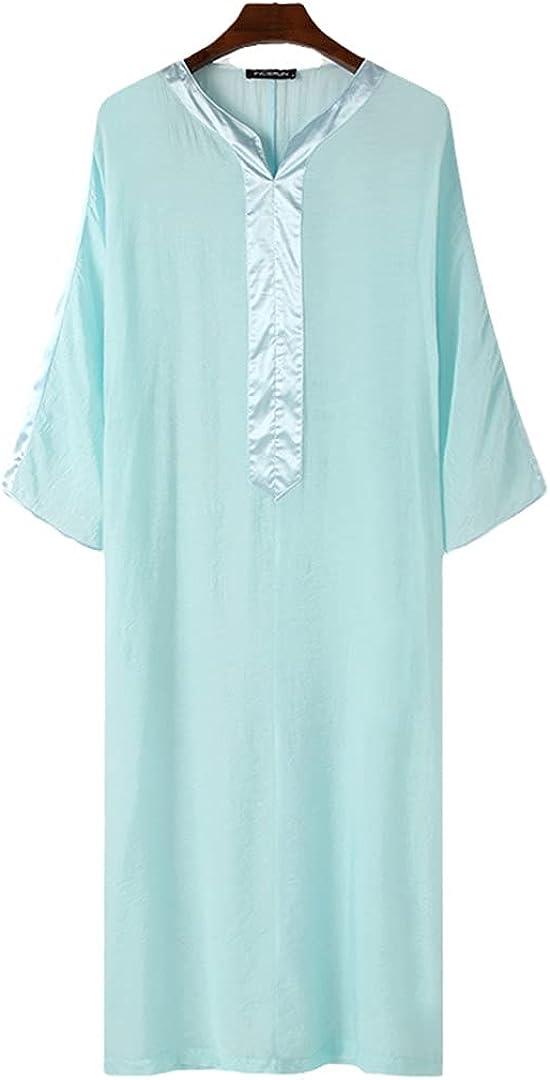 Eyastvgnf Men Robes 3/4 Sleeve V Neck Patchwork Muslim Islamic Arabic Kaftan Transparent Mesh Robes Men Clothing