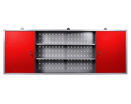 Ondis24 Werkzeugschrank Metall, Werkstattschrank 160x16x60 (H) cm, 2 abschließbare Türen,...