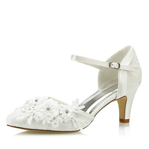Mrs White 453-4A Zapatos de Novia Bombas de Mujer Tacón Medio Satén...