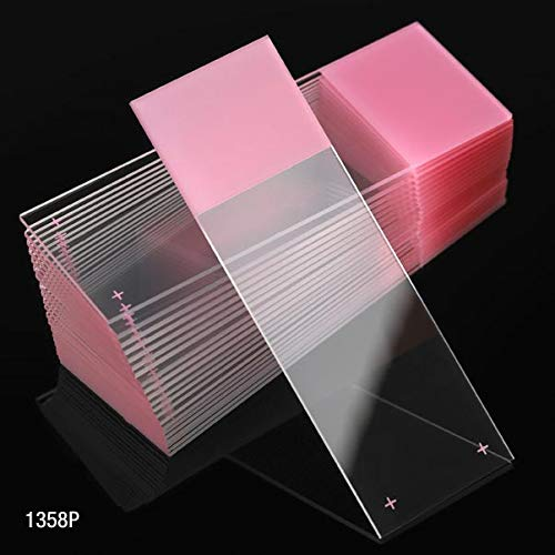 Microscope Slides, Diamond White Glass, 25 x 75mm, Charged, 90° Ground Edges, Pink Frosted, 72/Box, 20 Boxes/Case (10 Gross), Case of 1440