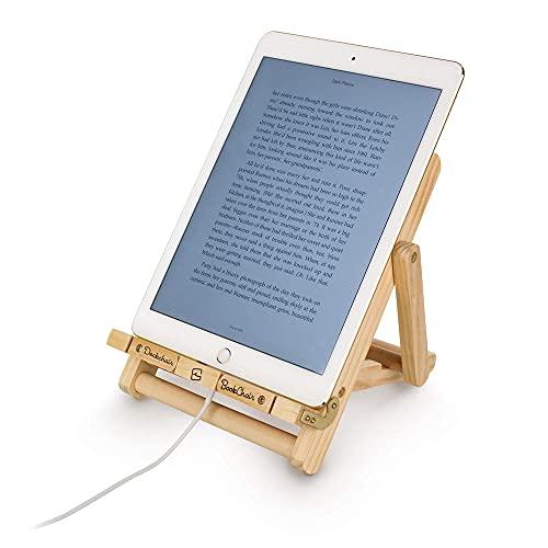Deckchair BookChair Wood Adjustable Foldable Ergonomic Recipe Book Phone Holder eReader Kindle iPad Tablet Stand Rest Cooking Reading Kitchen Desk Gift Idea - Multi Stripes