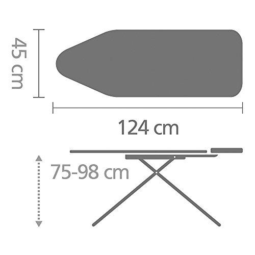 Brabantia 101229 Streckmetall-Bügeltisch Gr.C 124 x 45 cm / Rohrdurchmesser 25 mm mit Dampfstationsablage 'Solide' / Perfect Flow-Bügeltisch - 6
