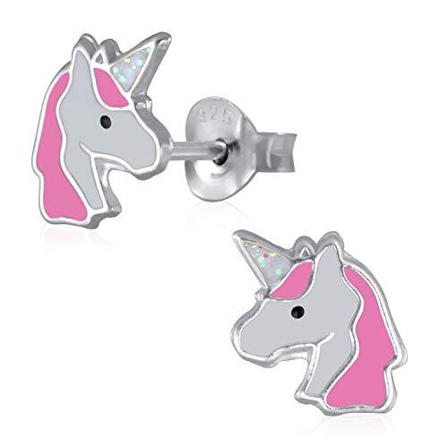 Laimons Pendientes para niña, joya infantil, diseño de unicornio, color rosa, blanco plata de ley 925