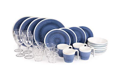 Sesua Melamin-Set Campinggeschirr Tafelgeschirr Picknickgeschirr Azure-Blau 24 Teile für 4 Personen incl.4X Wein+4X Wasserglas