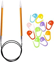 Knitter's Pride Knitting Needles Zing Circular 32 inch Size US 1 (2.25mm) Bundle with 10 Artsiga Crafts Stitch Markers 140122