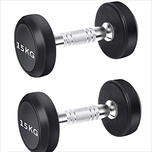 Dumbbells Fixed Value Men's Fitness Household Dumbbells Gym Fitness Equipment Dedicated Commercial Rubberized Dumb Ling Suit (Color : Black, Size : 30kg)