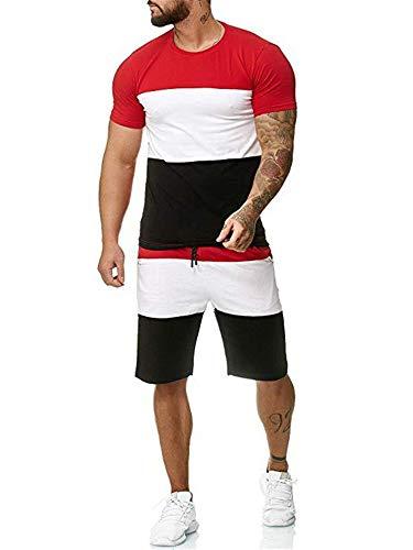 Geagodelia Tuta Uomo Sportiva 2 Pezzi T-Shirt + Pantaloncini Tuta Estiva Maniche Corte Girocollo Set Completo Casual Maglietta M-3XL Jogging Corso Palestra (Rosso, Large)