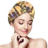 Envoltura de la cabeza del baño,Wonderful Shanghai Skyline Chinese City Hair Towels Wrap,Soft Absorbent Microfiber Hair Towel Twist Cap,Quickly Dry Bath Hair Turban Hat with Button for Women,