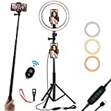 10 Inch Selfie Ring Light with Tripod Stand and Duo Phone Holder, Led Ring Light for YouTube Video, Makeup, Photography,Live Steaming & Photo,3 Light Modes & 10 Brightness Level