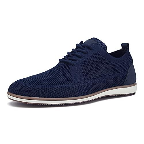 SMajong Zapatos con Cordones para Hombre Oxford Planos Zapatillas Ligeras y Transpirables Zapatos Casual con Punta (Azul 40 EU)