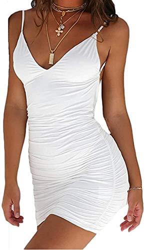 Carolilly Mini Gonna Donna Sexy Abito Fasciatura Scollo a V Profondo Aderente Senza Schienale Senza Maniche Estivo Tinta Unita (Bianco, S)