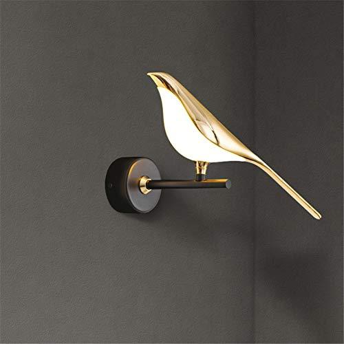 Lámpara de pared led oro chapado pájaro pasillo escaleras sconce dormitorio decoración accesorios de iluminación