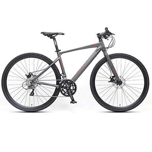 WYZQ Bicicleta De Carretera De 27.5 Pulgadas, Bicicleta De Montaña De 16 Velocidades, Cuadro De Aleación De Aluminio 700C, Freno De Disco Hidráulico, Solo para Adultos,Flat Handle Black Gray