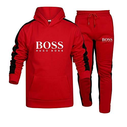 MAUXIAO Hombre y Mujer Chándal Para Bo_Ss Rayas Suéter de Dos Piezas con Capucha Pantalones Ropa Deportiva Parte Superior/Rojo/XXL