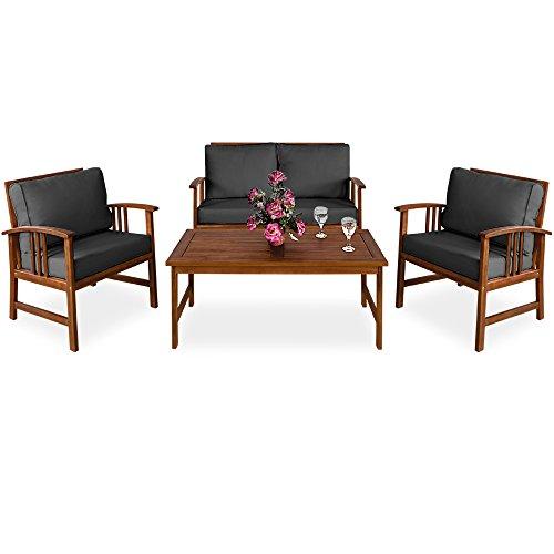 Deuba | Salon de Jardin Atlas • en Bois d'Acacia • Coussins Anthracite | Ensemble Table et Chaise de Jardin, mobilier, terrasse
