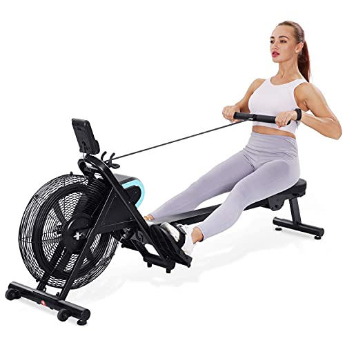 Air Rowing Machine Air Rower Adjustable Resistance with LCD Monitor for Equipment 51 Inch Rail Length for Cardio Exercise Training at Home and Office