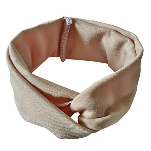 Holzkary Sweet Candy Colored Headband for Children Elastic Headwrap Hairband Turban Head Scarf Bandana Hair Accessories(Beige)