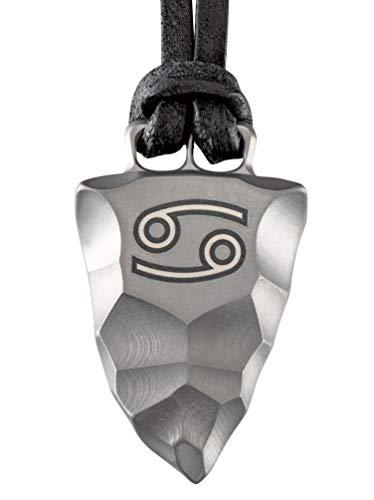 Element of Gods Titan Faustkeil Sternzeichen Krebs Amulett aus Reintitan Herrenschmuck Anhänger Lederband (70)