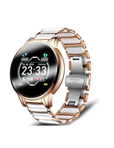 Roneberg RLA - Reloj inteligente para mujer con elegante pulsera, monitor de ritmo cardíaco dinámico, monitor de sueño, información sobre llamadas entrantes, medición de actividad física.