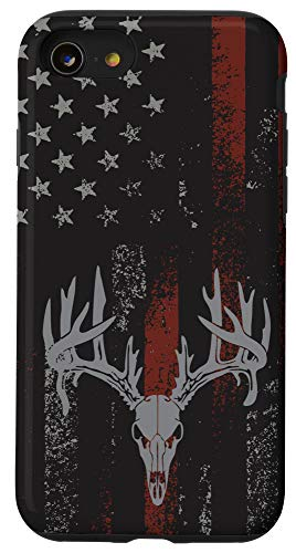 iPhone SE (2020) / 7 / 8 American Flag Whitetail Deer Buck Hunting USA FLAG Hunter Case