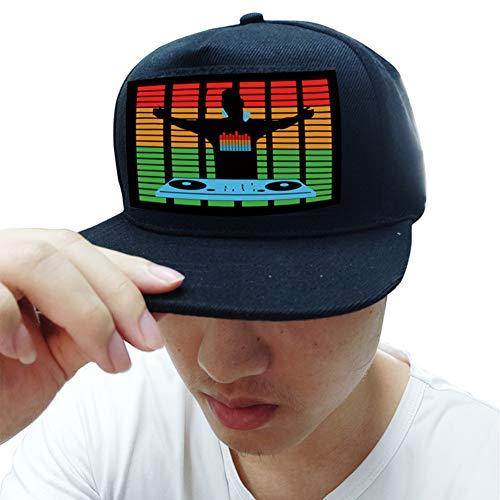 Balai LED-Blitzhut, Leuchten Sie Sound Activated Baseball Cap, DJ LED Blinkender Hut mit abnehmbarem Bildschirm für Mann Frau