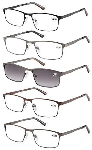 Eyecedar 5-Pack Reading Glasses Men Metal Frame Rectangle Style Stainless Steel Material Spring Hinges Include Sun Readers 1.50