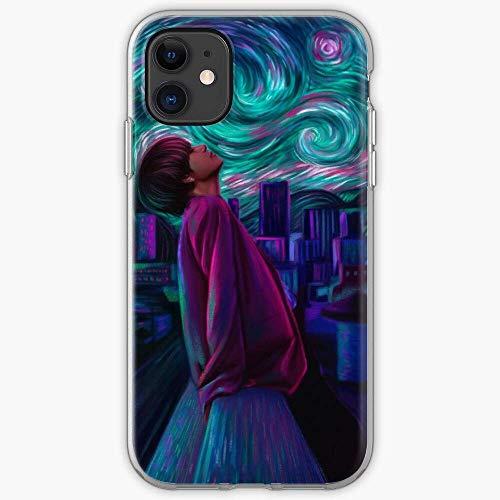 Compatibile con iPhone 11 12 PRO Max XR 6/7/8 SE 2020 Case Taehyung Fanart Van Gogh Vante Kim Starry Army Night V BTS Pure Clear Custodie per Telefono TPU Protezione dei Graffi Cover