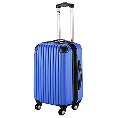 Goplus New GLOBALWAY 20  Expandable ABS Carry On Luggage Travel Bag Trolley Suitcase (Navy)