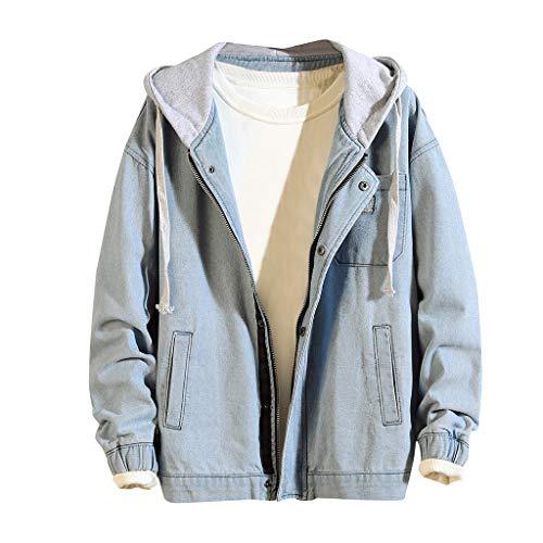 FRAUIT Mannen Distressed ritssluiting jeansjas met capuchon, mannen hooded jeans mantel denim outwear herfst winter knoopjack mode prachtig design streetwear kleding top coat M-3XL