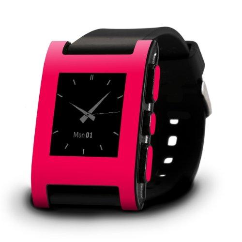 SlickwrapsPebble Armbanduhr, Farb-Serie, glänzend, pink-seidenmatt, ohne Früchte, Verpackung