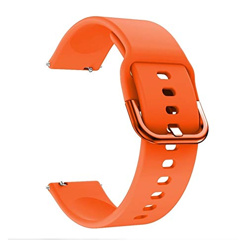 Correa de silicona original para reloj Galaxy Watch Active Smart Watch Correa de repuesto para Samsung Galaxy Watch 20 mm para hombres (color de la correa: naranja1, ancho de la correa: 20 mm)