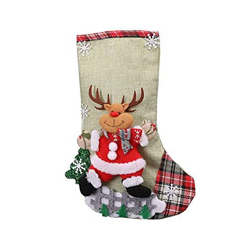 LPxdywlk Calcetines De Navidad Santa Elk Muñeco De Nieve Calcetines Bolsa De Regalo Grande Bolsa De Dulces Árbol...