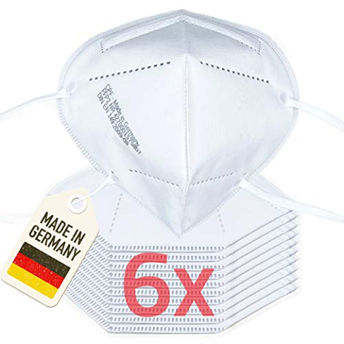 Facetex 6er Pack 4-lagige FFP2 Maske Mundschutz | in Deutschland hergestellt | CE zertifizierter Mund und Nasenschutz, CE2163 | Atemschutzmaske Staubmaske Atemmaske Staubschutzmaske Mundschutzmaske