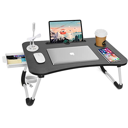 Laptop Stand for Bed with USB - Foldable Laptop Bed Tray Table with Storage Drawer and Adjustable Legs,Cup Holder for Working,Eating Breakfast,Reading Book on Bed/Sofa/Floor (Black B)