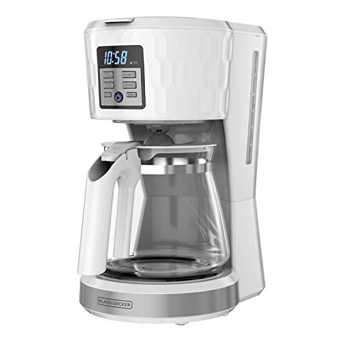 BLACK+DECKER Honeycomb Collection 12-Cup Programmable Coffeemaker, with Premium Textured Finish,...