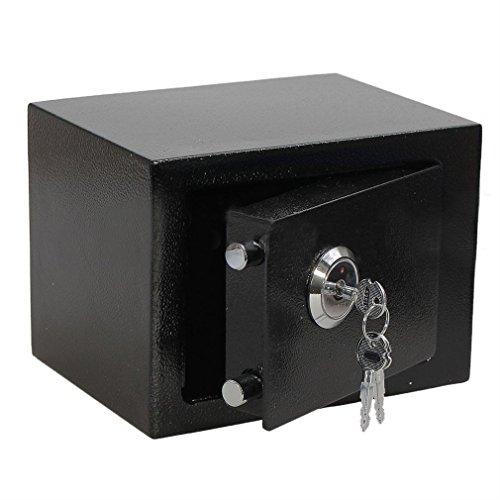Klein Safe Tresor Elektronisch Minisafe Wandtresor Wandsafe Schranktresor Geldschrank Möbeltresor Geldsafe, mit Schlüssel, Befestigung an Wand o. Boden, 17 * 23 * 17cm (No Codeschloss)
