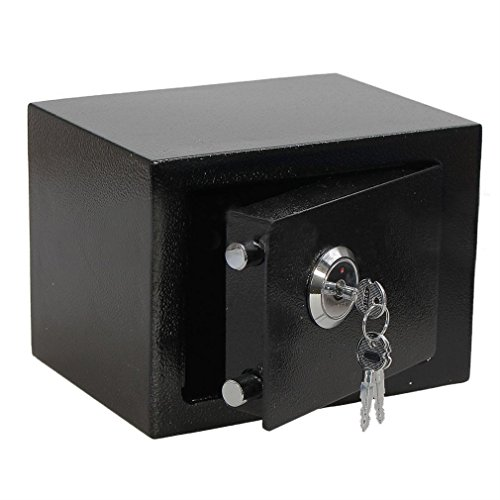Safe Tresor, Möbeltresor Schlüsseltresor Minitresor Feuerfest Wasserdicht, mit schlüssel Doppelbartschloss, Geldkassette Abschließbar Stahlsafe, 17x23x17cm (Schwarz)