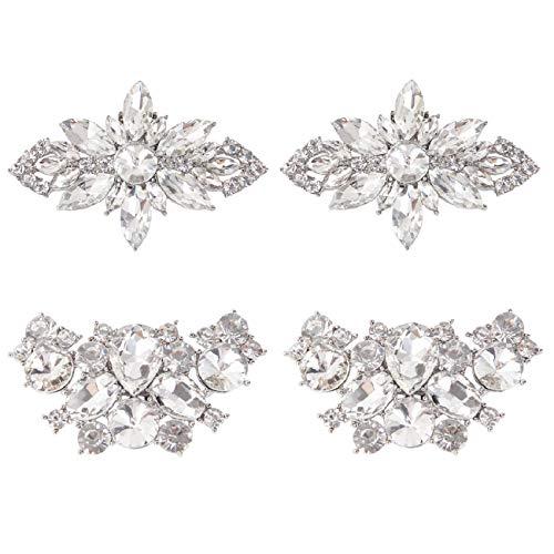 kilofly 2 Paar elegante Strass-Kristall-Metall-Schuh-Clips, Hochzeits-Party-Set, 5,8 cm, Silber
