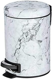 WENKO DIE BESSERE IDEE Petite Poubelle Salle de Bain à pédale, 3L, Aspect marbre foncé, Onyx