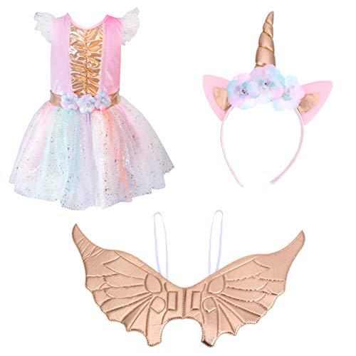 PRETYZOOM 1 Juego Vestido de Unicornio Disfraces de Cosplay Traje de Unicornio para Niñas con Diadema Ala Y Vestido de Tutú Xl