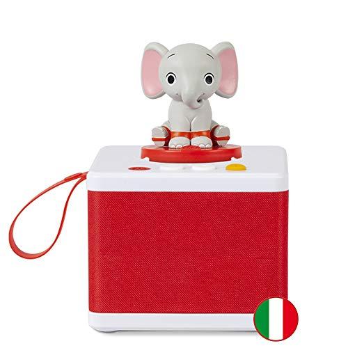 FABA - Raccontastorie Bianco - Cantastorie per Bambini, Cassa Audio con Personaggio Sonoro Ele l Elefante, Gioco Educativo, Contenuti da 0 a 6 anni