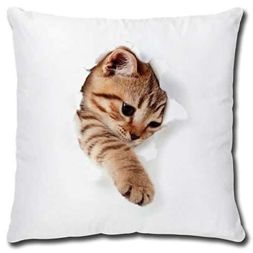 TRIOSK Kissen mit Katzenmotiv lustig Katze bricht durch Dekokissen Geschenk für Katzenliebhaber Frauen Mädchen Kinder Zierkissen Füllung 40x40 Weiß Beige