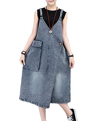 Damen Latz Kleid Denim Kleider Sommer Party Classic Freizeitkleid Elegant Vintage Fashion Loose Beiläufiges Hippie Jungs Jeanskleid Sommerkleider (Color : Blau, Size : XL)