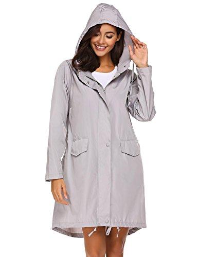 Unibelle Damen Regenmantel Regenjacke Mit Atmungsaktiv Kapuze Wasserdicht Windbreaker Wetterfest Grau S